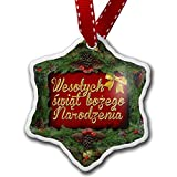 Christmas Ornament Merry Christmas in Polish from Poland - Neonblond