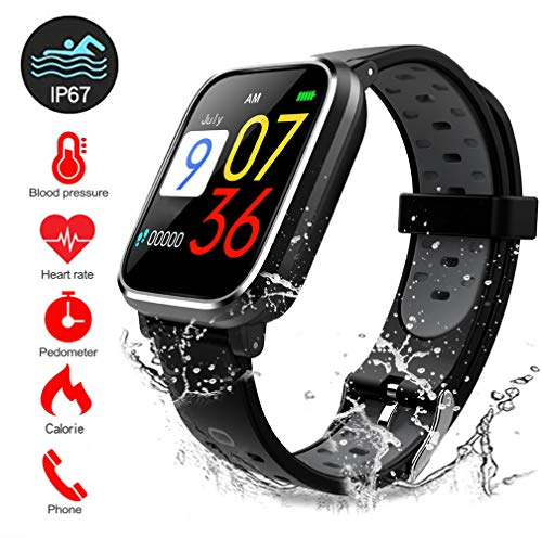 SYCYKA Fitness Tracker Smart Watch Bluetooth for Android iOS Heart Rate Blood Pressure Monitor Swimming Sports Activity Tracker Watch (Grey) ()