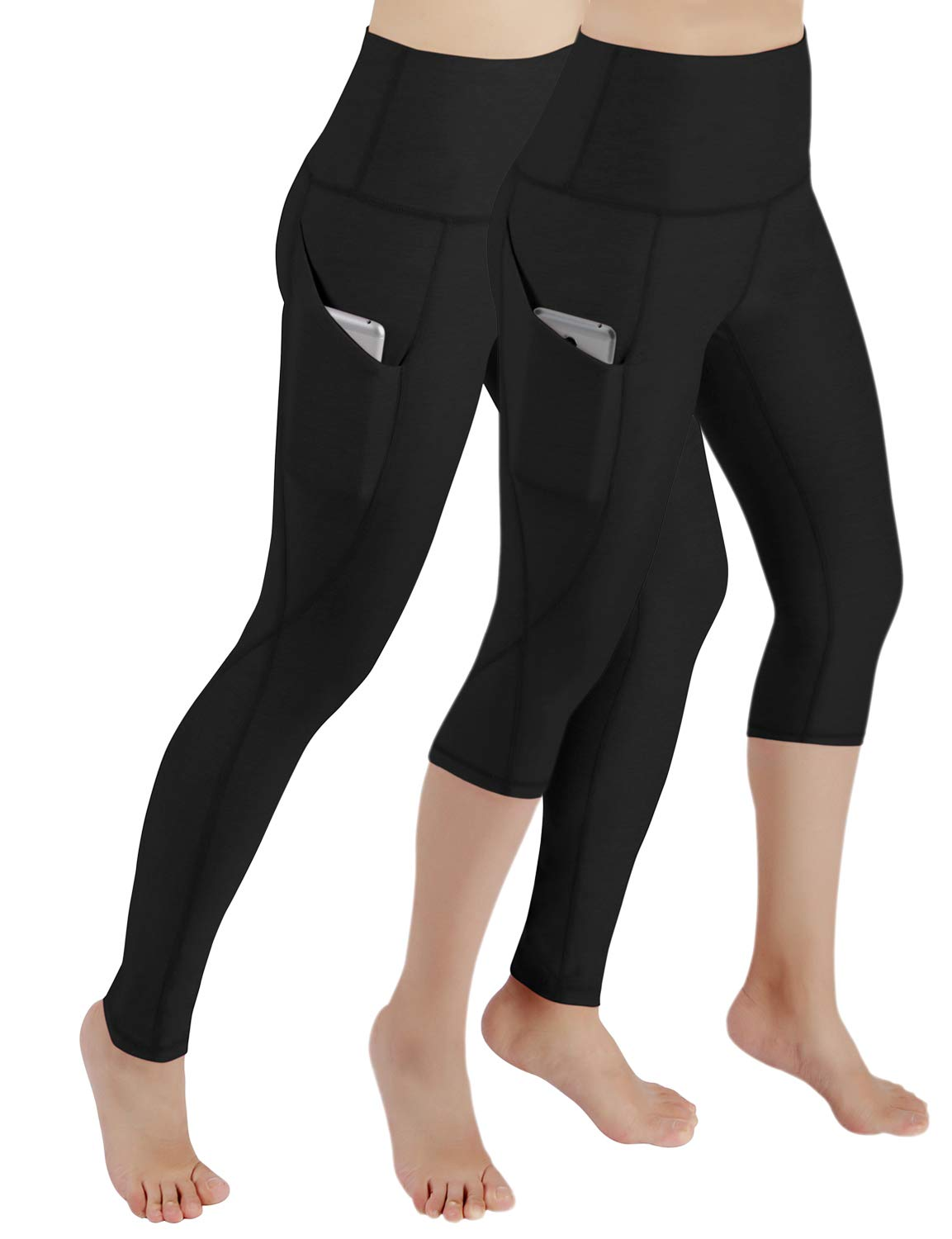 ODODOS Women's High Waist Yoga Capris with Pockets,Tummy Control,Workout Capris Running 4 Way Stretch Yoga Leggings with Pockets,2Pack-714Black/715Black,Small by ODODOS