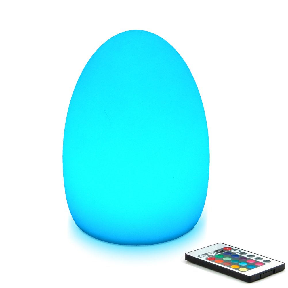 Mr.Go 8-inch LED Egg Light Nightlight Mood Lighting Lamp for Adults and Children - Remote Control - 16 RGB Colors - Bright and Dim Settings - Smooth and Flash Light Effects - Rechargeable - Fun Safe