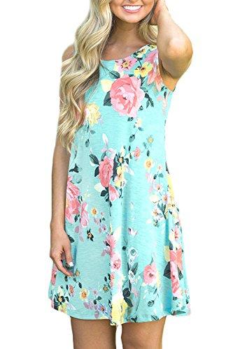 Spadehill Women's Loose Fit Sundress Floral Printed Boho Beach Swing Casual Pocket Sleeveless Cotton Tank Tunic Dress Green L by Spadehill (Image #3)'