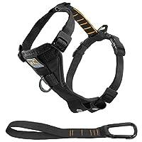 El arnés para perros Tru-Fit para perros, arnés para perros, incluye la función Sin arnés del arnés para perros del clip delantero para entrenamiento y correa para el cinturón de seguridad para mascotas para automóvil, negro, medio
