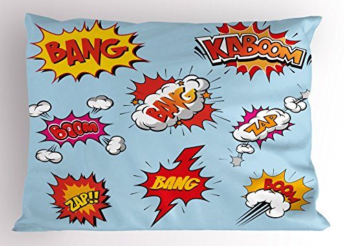Ambesonne Superhero Pillow Sham, Fantasy Heroic Speech Bubbles with Various Expression in Pop Art, Decorative Standard Size Printed Pillowcase, 26 X 20 inches, Light Blue Red Eart Yellow - Home Expressions Standard Sham