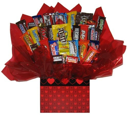 Chocolate Candy bouquet (Quilted Heart Gift Box) (Box Quilted Heart)