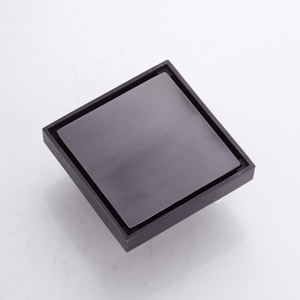 Square Invisible Look Shower Drain Channel Flat Cover Copper Drainage grates Anti-Odor Large-Displacement Shower Tile Drain-Black