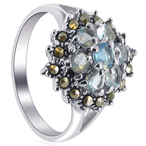 Sterling Silver Marcasite Flower (Gem Avenue 925 Sterling Silver Round Aquamarine Color Cubic Zirconia Marcasite with Accents Flower Ring)