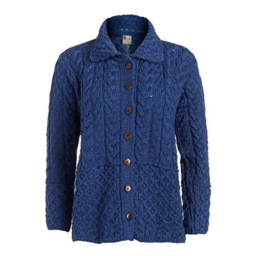 Boyne Valley Knitwear Honeycomb Ladies Wool Cardigan (Blue, XLarge) (Wool Sweater Irish Cardigan)