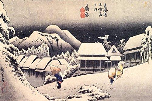 Evening Snow Hiroshige (Utagawa Hiroshige Evening Snow at Kanbara Poster 18x12 inch)