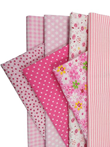 levylisa 19.7 x 19.7 7pcs Pink Printing Floral Dot Stripe Cotton Quilting Fabric Quarter Bundle Patchwork Quilting Fabric Sets Sewing Fabric Patchwork Flower Dots DIY Quilting Handmade Craft