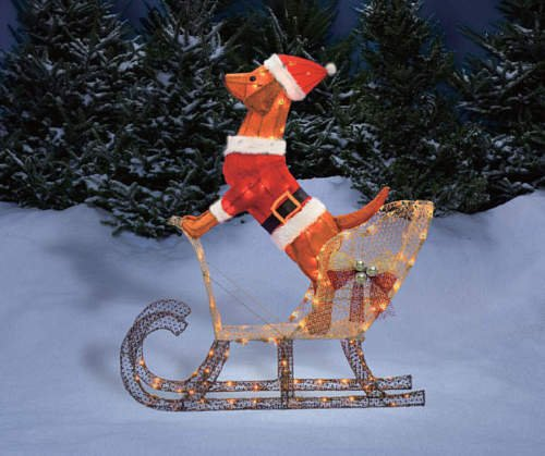 Santa Dog Riding In Sleigh Sculpture Outdoor Christmas Yard Lawn Decoration Seasonal Display