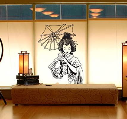 stickerbrand asian dcor vinyl wall art japanese geisha wall decal sticker multiple colors available 32 x 20 easy to apply removable - Asian Decor