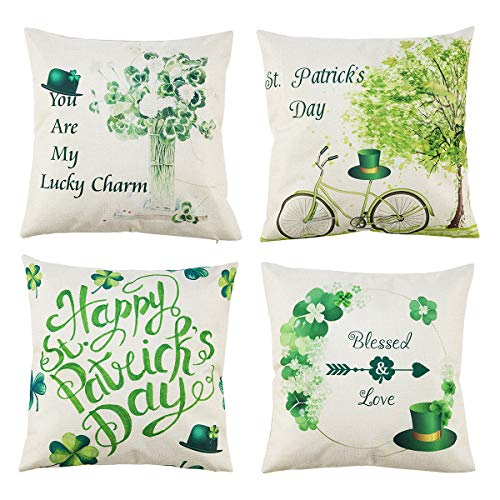 4 Pack St. Patrick's Day Pillow Cover Green Hat Cotton Linen Throw Pillow Cushion Case Spring Leaves Decor for Sofa, Bed, Car, Office, Home Decoration, 18 x 18 Inches]()