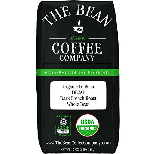 The Bean Coffee Company Organic Decaf Le Bean, Dark French Roast, Whole Bean, 16-Ounce (Organic Coffee Whole Bean French)