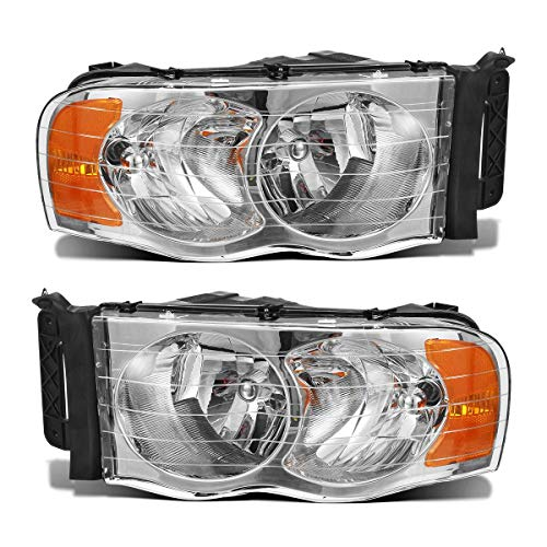 Partsam Headlight Assembly for Dodge Ram Pickup 2002 2003 2004 2005 Driver and Passenger Side Pair Headlamps Head Lights Lamps Replacement Chrome Housing Amber Reflector CH2502135 CH2503135