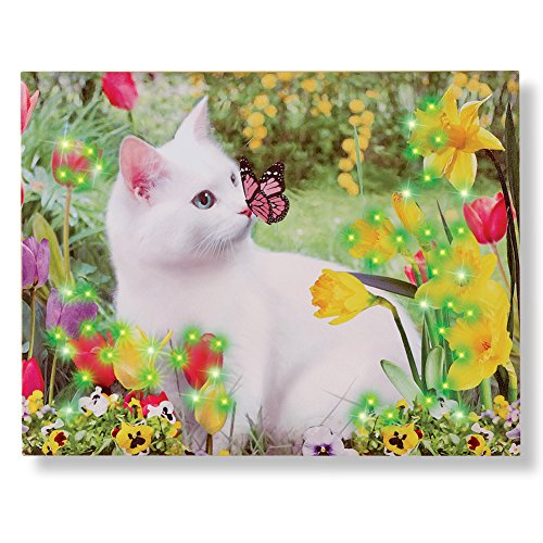 Collections Etc Fiber Optic Lighted Canvas Wall Art Featured Spring Garden Kitty & Butterfly