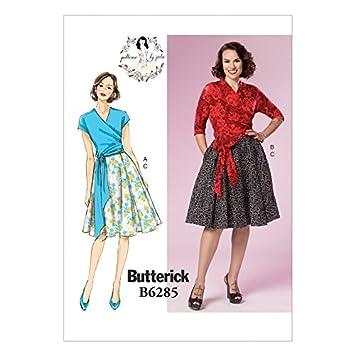 Butterick Schnittmuster 6285 Vintage Style Wrap Top & Faltenrock + ...