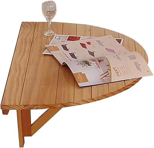 YNN Table Mesa de Pared Mesa semicircular Madera Maciza Mesa de ...