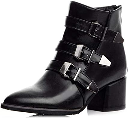 WOMENS CHUNKY BLOCK HIGH HEEL ZIP SHOES CHELSEA LADIES BUCKLE ANKLE BOOTS SIZE
