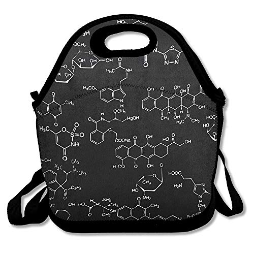 Lunch Bag Chemical Element Black Waterproof Reusable Durable Insulated Lunch Boxes Tote for School Work Office Picnic Travel