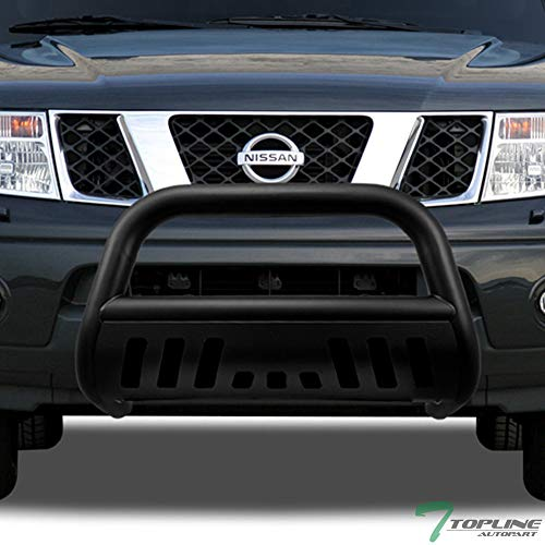 Nissan Bull Bar (Topline Autopart Matte Black Bull Bar Brush Push Front Bumper Grill Grille Guard With Skid Plate For 05-18 Nissan Frontier ; 05-07 Pathfinder ; 05-15 Xterra)