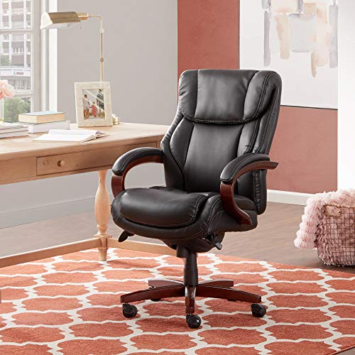 La Z Boy Bellamy Executive Ergonomic, 250lb Capacity Office Chair with Lumbar Support, Bonded Leather Black