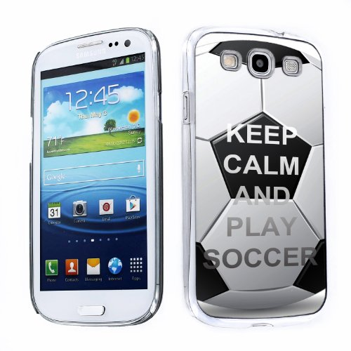 One Tough Shield ® Slim-Fit Hard Protector Case for Samsung Galaxy S-III S3 - (Keep Calm / Play (Soccer Galaxy S3 Case)