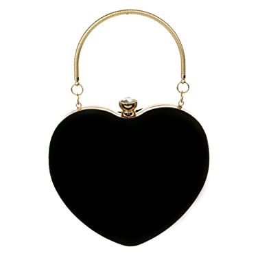 Heidi Bag Womens Heart Shape Clutch Shoulder Handbag Vintage Suede Velvet Top Handle Tote