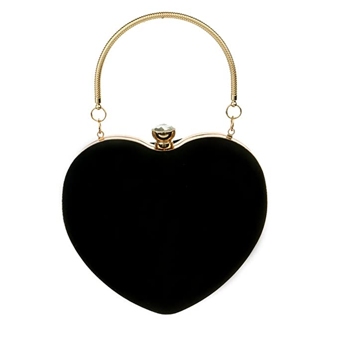 Amazon.com: Buddy Mini Handbag Women Heart Shape Clutch Purse Velvet Shoulder Bag Evening Tote Chain Purse Black: Shoes