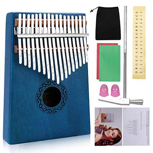 17 Keys Kalimba Thumb Piano, Mini Blue and Black Diy Kalimba 17 Key Thumb Kalimba Musical Instruments Solid Mahogany…