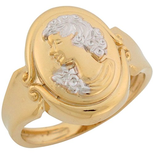 Jewelry Liquidation 14k Two Tone Real Gold Cameo Design Classy Ladies Ring