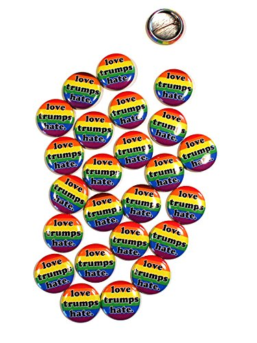 Button Love Pinback (Love Trumps Hate LGBT Pinback Buttons - 1 Inch Round - 25 Pack)