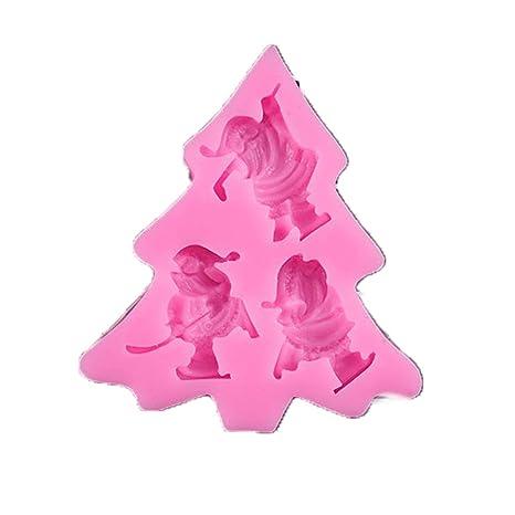 Sungpunet Patrón moldes de la Torta de Santa Claus Silicona Pasta de azúcar del Molde para