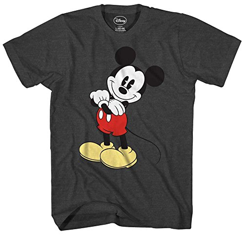 Mickey Mouse Cracked Graphic Tee Classic Vintage Disneyland World Mens Adult Graphic Tee T-Shirt Apparel (Black, Large) - Vintage Mickey Mouse T-shirt