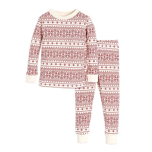 Burt's Bees Baby Baby Pajamas, Tee and Pant 2-Piece PJ Set, 100% Organic Cotton, Ivory/Red Fair Isle, 12 Months