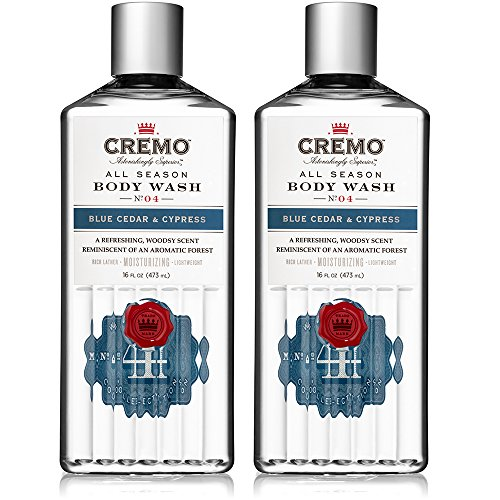 Cremo All Season Body Wash, Blue Cedar & Cypress, 16 Ounce, 2-pack - Rich, Powerful Fragrance of Refreshing Blue Cedar Wood, Aromatic Cypress and a Citrus Zest (Best Long Lasting Body Wash)