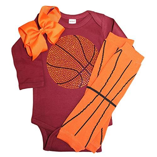 - FanGarb Rhinestone Baby Girls Basketball Black Outfit, Orange Basketball Leg wamers & Bow (0-3 mo, Maroon)