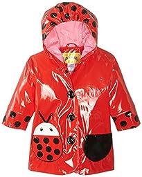 Kidorable Little Girls\' Ladybug PU Raincoat, Red, 3T