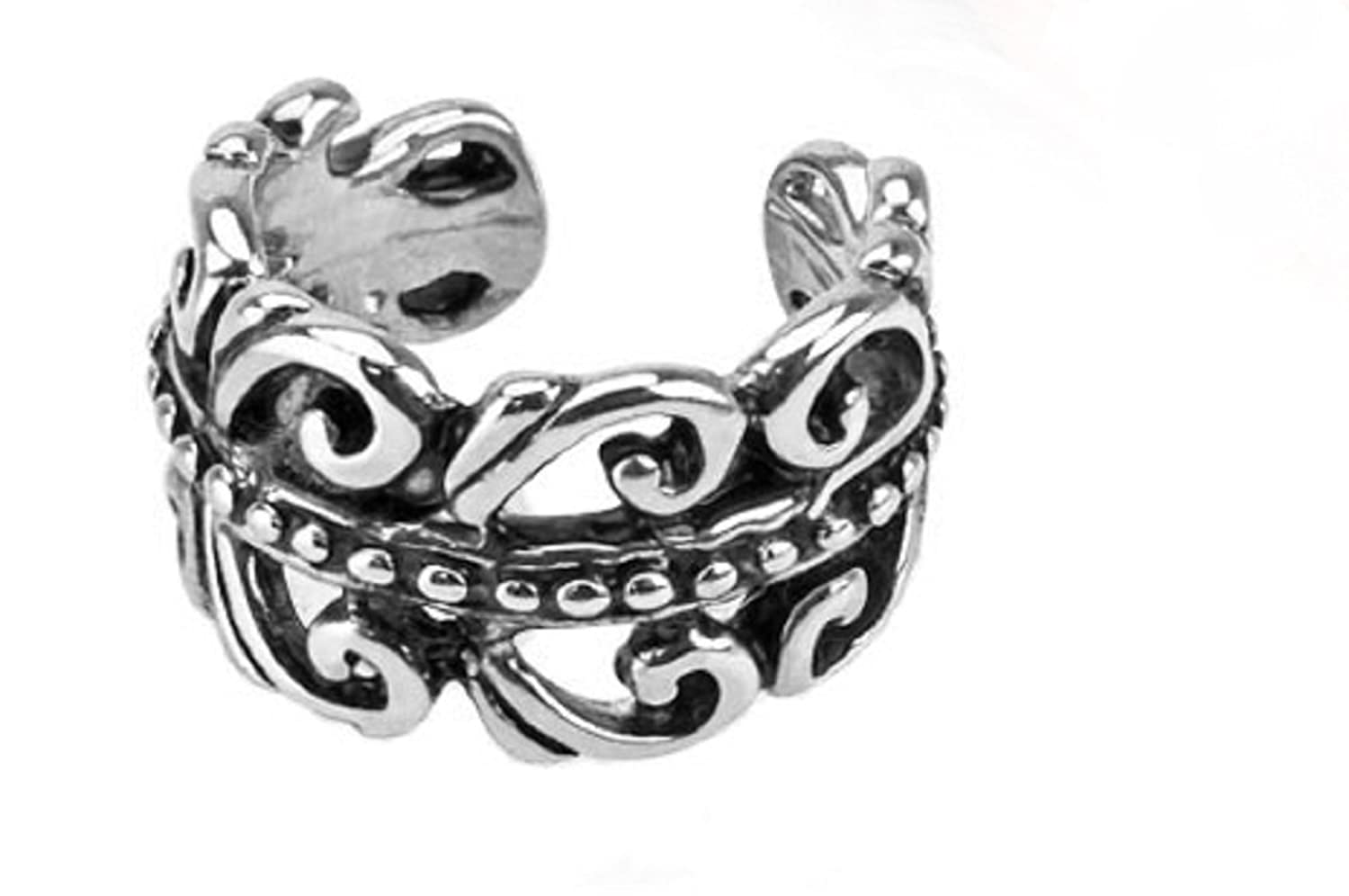 Polished Carved Swirls Freedom Fashion 316L Surgical Steel Non-Piercing Ear Cuffs