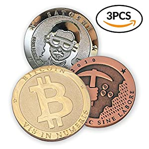 Bitcoin Deluxe 3 Piece Set | Featuring the Limited Edition Gold Bitcoin, Copper Miner, and Satoshi Silver Tokens by CoinedBits | Each Comes w/ a Plastic Round Display Case