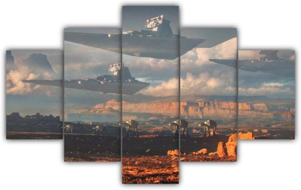 KOPASD Piy Painting 5 Piezas Cuadro sobre Lienzo Imagen Destructor De Planetas De Star Wars Impresión Pinturas Murales Decor Dibujo con Marco Fotografía para Oficina Aniversario200X100Cm