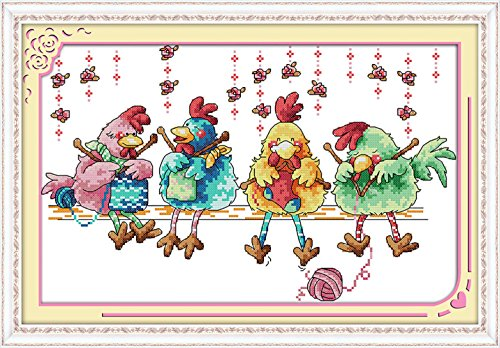 "eGoodn Cross Stitch Stamped Kit Pre-printed Pattern Knitting Chickens, 11CT Aida Fabric Size 20.5"" x 13.8"