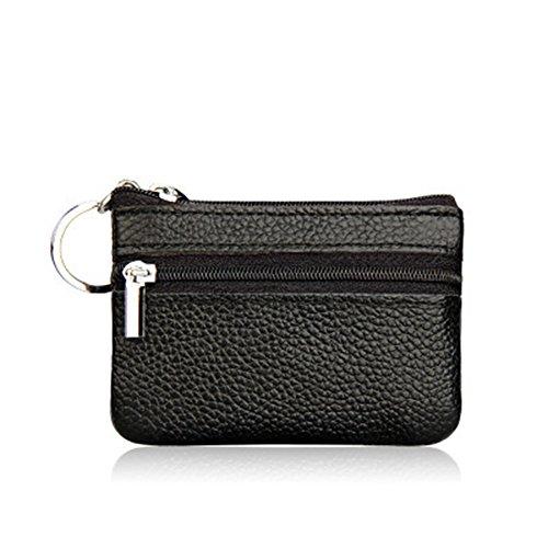 multifuncional Negro 1 cremallera para Negro piel unidad monedas Piel Monedero bolsa sintética Doitsa mini sintética 10X7cm de mujer con para bolso Sn5CUx4