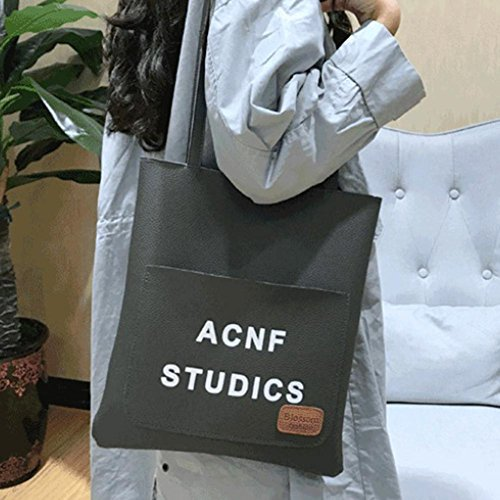 Shoulder Big Handbag Women Quality Bag Solid Aediea Bag Leather Gray Bucket High 1ZaYz