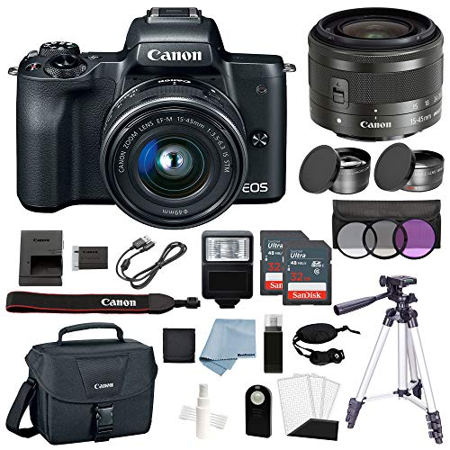 Canon EOS M50 Mirrorless Digital Camera (Black) with 15–45mm f/3.5–6.3 is STM Lens + Deluxe Accessory Bundle – Includes to Get Started