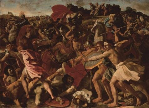 Oil Painting 'Poussin Nicolas,The Victory Of Joshua Over The Amalekites,1625' Printing On High Quality Polyster Canvas , 8x11 Inch / 20x28 Cm ,the Best Home Theater Artwork And Home Decor And Gifts Is This Replica Art DecorativePrints On Canvas