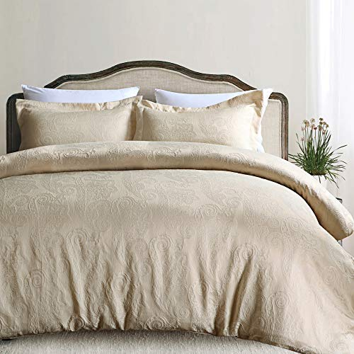 California Design Den Hotel Paisley Luxe Duvet Cover Set, Full/Queen, Champagne, 3-Piece (Champagne Bedding)