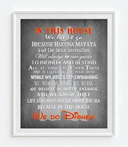Charcoal -In this House We Do Disney inspired Art Print, UNFRAMED, Magic Kingdom Mickey Mouse wall & home decor poster family nursery kids room sign, Birthday - Housewarming - Christmas gift, 8x10 Cinderella Castle Magic Kingdom