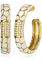 "CZ by Kenneth Jay Lane ""Trend Collection"" Gold-Plated, Cubic Zirconia, and White Enamel Hoop Earrings, 3 CTTW"