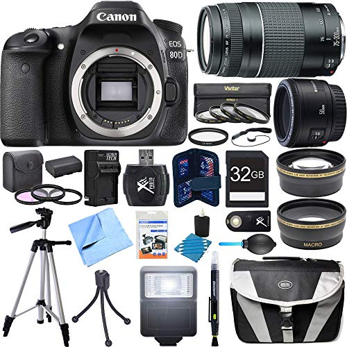 Canon EOS 80D CMOS Digital SLR Camera Super Bundle includes Camera, 50mm Lens, 75-300mm Lens, 58mm Filter Kit, 32GB SDHC Memory Card, Tripod, Gadget Bag, Cleaning Kit, Beach Camera Cloth and More! For Sale