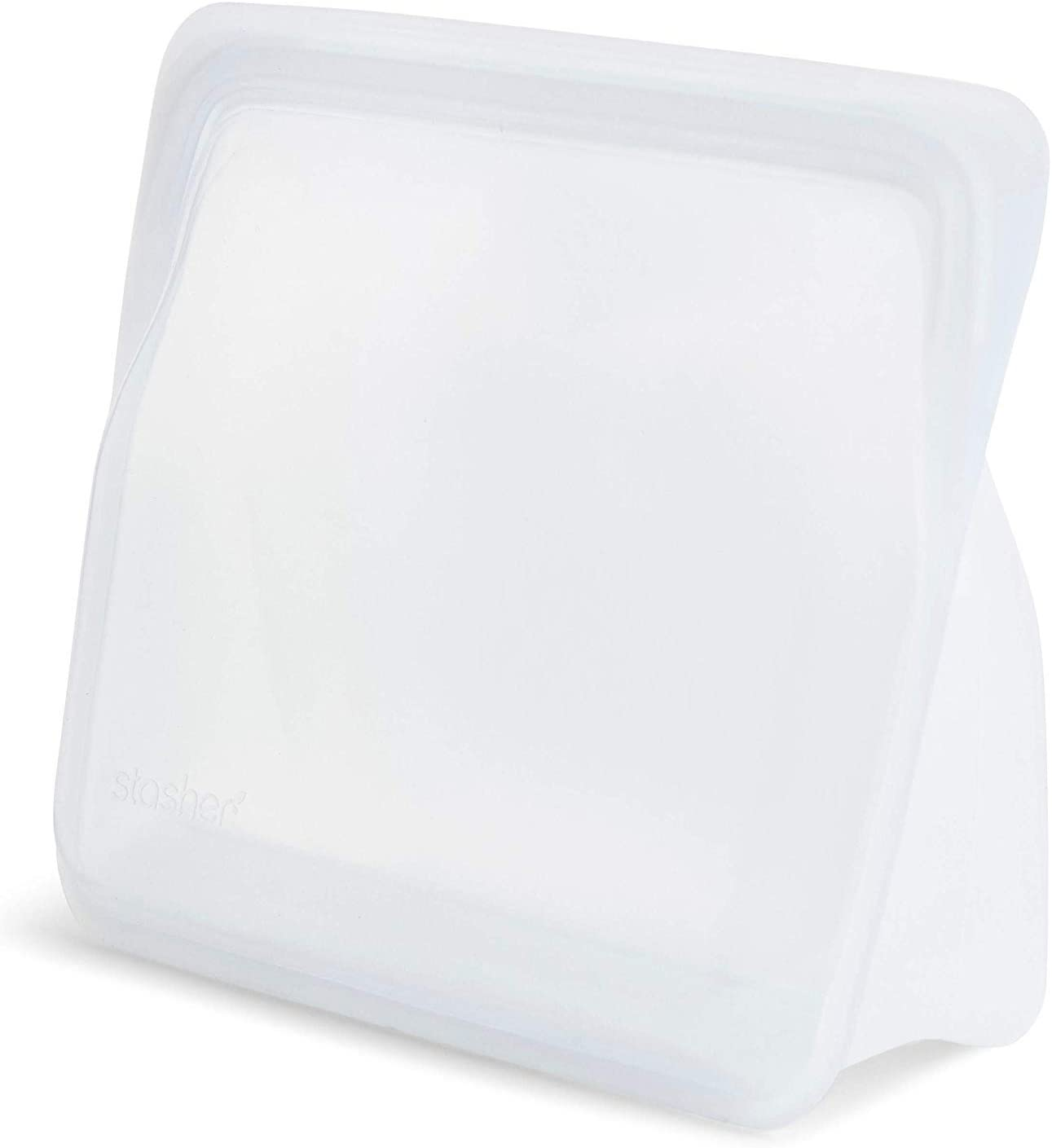 Stasher Re-Usable Food-Grade Platinum Silicone Stand Up Bag for Eating from/Cooking, Freezing and Storing in/Organising/Travelling, 17.80 x 20.30 cm/1.65 Litre/56 Fluid Ounces, Clear